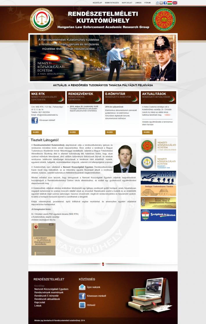 Rendészetelméleti Kutatóműhely honlapjának nyitó oldala